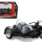 1948 Harley Davidson FL with Side Car Black Motorcycle Model 1/18 Diecast Model by Maisto