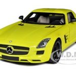 2010 Mercedes SLS AMG Yellow With Black Wheels 1/18 Diecast Car Model by Minichamps
