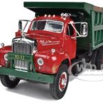 Mack B-61 Dual-Axle Dump Truck Red / Green 1/34 Diecast Model by First Gear