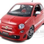 2008 Fiat Abarth 500 Red 1/18  Diecast Model Car by Bburago