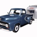 1953 Ford F100 Pickup Truck Blue and Aluminum Camper Trailer Set 1/18 Diecast Model Cars by Road Signature & Motorcity Classics