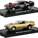 Drivers 1968 Pontiac Firebird Sprint 2pc Set WITH CASES 1/64 Diecast Model Cars by M2 Machines