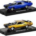 Drivers 1970 Ford Torino Cobra 2pc Set WITH CASES 1/64 Diecast Model Cars by M2 Machines