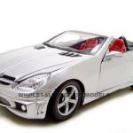 2005 Mercedes SLK 55 AMG Silver With Retractable Roof 1/18 Diecast Model Car by Motormax