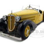 1935 Audi 225 Front Roadster Black/Yellow 1/18 Diecast Model Car by CMC