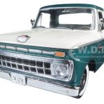 1965 Ford F-100 Pickup Truck Custom Cab Wimbledon White and Holly Green 1/18 Diecast Model by Sunstar