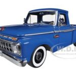 1965 Ford F-100 Custom Cab Pickup Truck Marlin Blue 1/18 Diecast Model Car by Sunstar