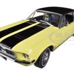 1967 Ford Mustang Coupe Ski Country Special Breckenridge Yellow with Black Stripes and Black Vinyl Roof and a Pair of Skies 1/18 by Greenlight