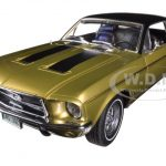 1968 Ford Mustang Golden Nugget Special Sunlit Gold with Black Stripes 1/18 Diecast Car Model by Greenlight