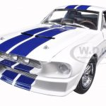 1967 Ford Shelby Mustang GT 500 White with Blue Stripes 1/18 Diecast Model Car by Greenlight