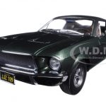 1968 Ford Mustang GT Fastback Bullitt Highland Green with Steve Mcqueen Driving Figure 1/18 Diecast Model Car by Greenlight
