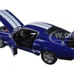 1967 Ford Shelby Mustang GT 500 Blue with White Stripes Shelby Hood 1/18 Diecast Model Car by Greenlight