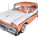 1957 Ford Fairlane Skyliner 500 Coral Sand / Colonial White1/18 Diecast Car Model by Sunstar