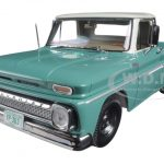 1965 Chevrolet C-10 Stepside Pickup Truck Light Green/Ivory 1/18 Diecast Model Car by Sunstar