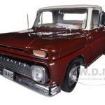 1965 Chevrolet C-10 Stepside Pickup Maroon Irid/Ivory 1/18 Diecast Model Car by Sunstar