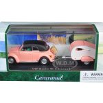 Volkswagen Beetle Pink with Caravan I Trailer and Display Case 1/43 Diecast Car Model by Cararama
