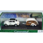 Volkswagen Beetle #53 with Caravan III Trailer in Display Case 1/43 Diecast Model Car by Cararama