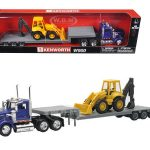 Kenworth W900 Lowboy Blue With Tractor 1/43 Model by New Ray