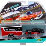 2004 Chevrolet Silverado SS with Car Trailer Red / Black Tow & Go 1/64 Diecast Model by Maisto