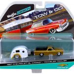 1967 Chevrolet El Camino with Traveler Trailer Gold Tow & Go 1/64 Diecast Model by Maisto