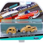 1936 Ford Coupe with Traveler Trailer Gold Tow & Go 1/64 Diecast Model by Maisto