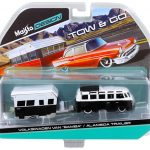 Volkswagen Van Samba with Alameda Trailer Black / White Tow & Go 1/64 Diecast Model by Maisto
