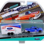2004 Ford F-150 Pickup Truck #15 Blue and Car Trailer Tow & Go 1/64 Diecast Model by Maisto