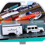 Mercedes G Class Wagon White and Car Trailer Tow & Go 1/64 Diecast Model by Maisto