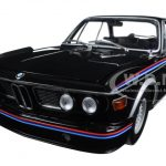 1973 BMW 3.0 CSL (E9) Coupe Black with Stripes Limited Edition to 504pcs 1/18 Diecast Model Car by Minichamps