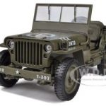 1/4 Ton US Army Jeep Vehicle WW 2 Top Down 1/18 Diecast Model by Welly