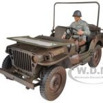 1/4 Ton US Army Jeep Vehicle WW 2 Dirty Version with Figure 1/18 Diecast Car Model by Welly
