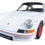 1973 Porsche 911 Carrera RS White with Red Stripes 1/18 Diecast Model Car by Welly