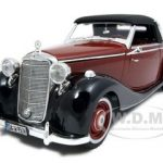 1950 Mercedes 170S Cabriolet Burgundy/Black 1/18 Diecast Model Car by Signature Models