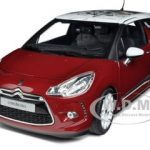 2010 Citroen DS3 Sanguine Red with White Roof 1/18 Diecast Car Model by Norev