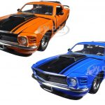 1970 Ford Mustang Boss 429 Blue & Orange 2 Cars Set 1/24 Diecast Model Cars  by Jada