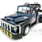 1956 Ford F-100 Tow Truck Bobs Towing Blue 1/18 Diecast Car Model by Welly