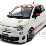 2008 Fiat 500 Abarth White With Checkers 1/24 Diecast Model Car by Bburago