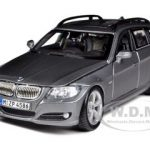 BMW 3 Series Wagon Touring Gray 1/24 Diecast Car Model by Bburago