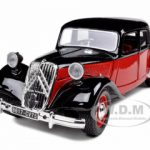 1938 Citroen 15 CV TA Black/Red 1/24 Diecast Car Model by Bburago
