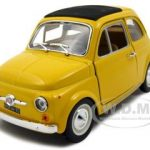 1965 Fiat 500 F Yellow 1/24 Diecast Model Car by Bburago