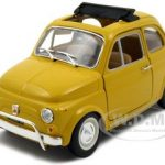 1968 Fiat 500 L Yellow 1/24 Diecast Car Model by BBurago