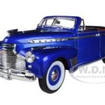 1941 Chevrolet Special Deluxe Convertible Blue 1/24 Diecast Car Model by Welly