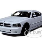2006 Dodge Charger R/T Unmarked Police Car White with Push Bar and 2 Sets of Clear Light Bars 1/24 Diecast Model Car by Welly
