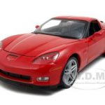 2007 Chevrolet Corvette C6 Z06 Red 1/24 Diecast Car Model by Welly