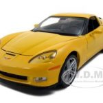 2007 Chevrolet Corvette C6 Z06 Yellow 1/24 Diecast Car Model by Welly