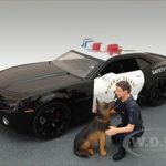 Police Guy & K9 Unit Dog Figure Set For 1:18 Diecast Model Cars by American Diorama