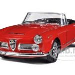 1960 Alfa Romeo Spider 2600 Convertible Red 1/24 Diecast Car Model by Welly