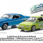 1969 Chevrolet Yenko Camaro and 2002 Mitsubishi Lancer Evolution VII Drag Scene 2 Fast and 2 Furious Movie (2003) Diorama Set 1/43 Diecast Model Cars by Greenlight