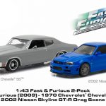 1970 Chevrolet Chevelle SS Grey and 2002 Nissan Skyline GT-R Blue Drag Scene Fast and Furious Movie (2009) Diorama Set 1/43 Diecast Model Cars by Greenlight