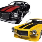 1971 Chevrolet Camaro SS Yellow & Black 2 Cars Set 1/24 Diecast Car Model by Jada